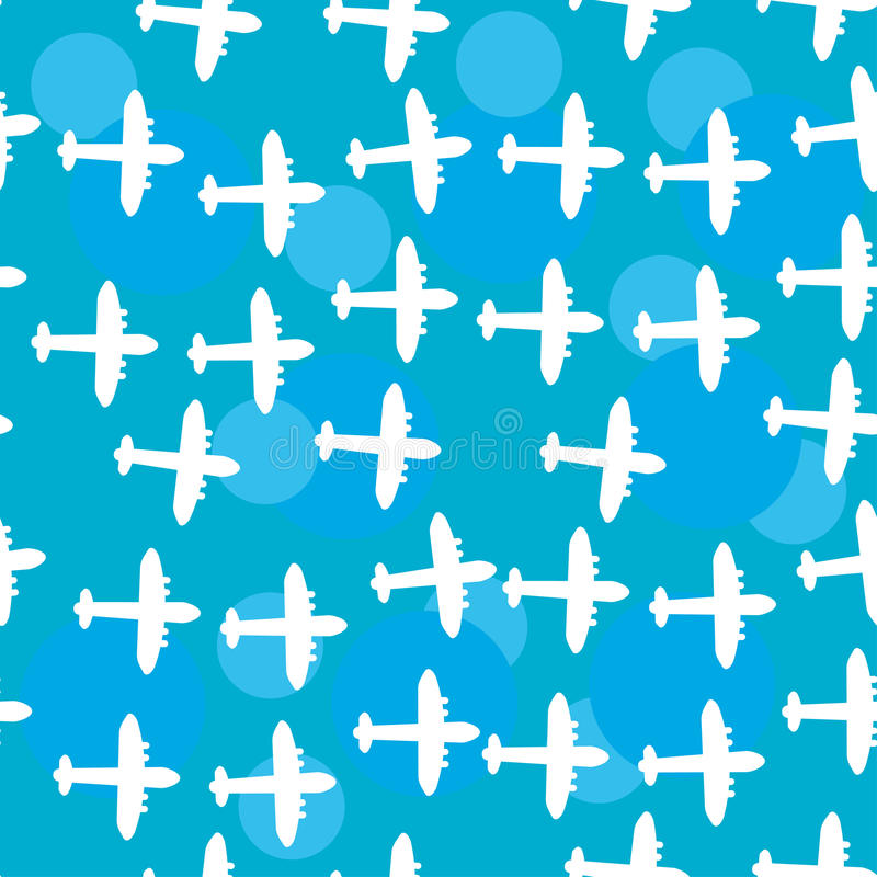 Modèle blanc sans couture avec des silhouettes de l'avion Ciel bleu b illustration stock