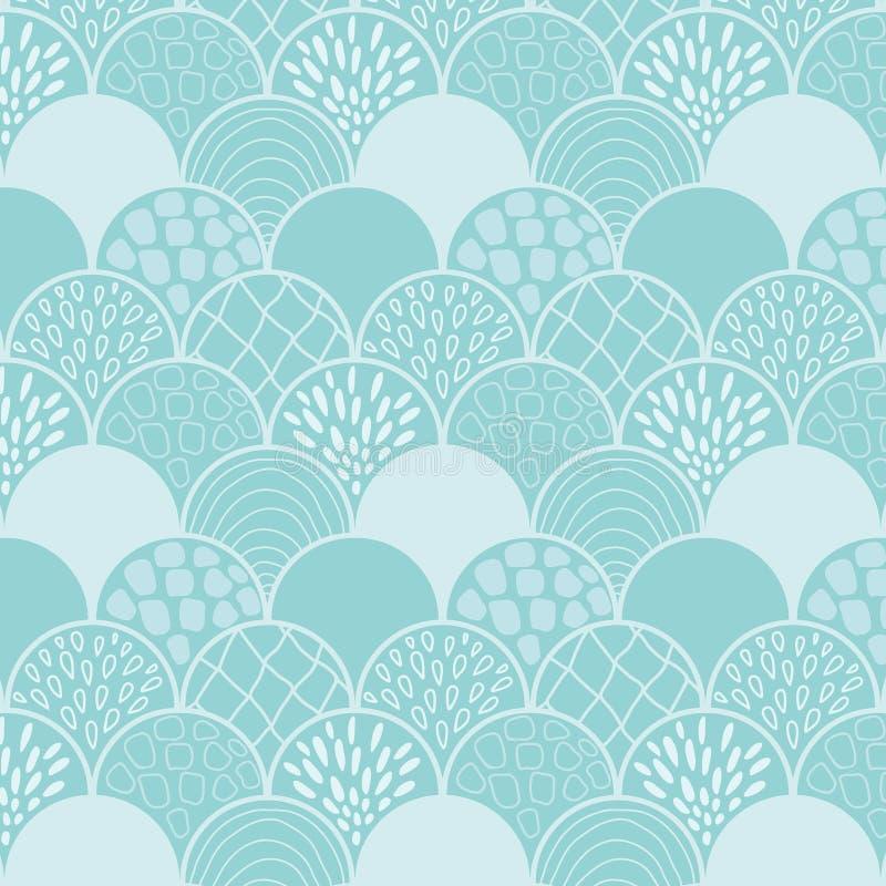 Modèle bleu abstrait de griffonnage d'échelles image stock