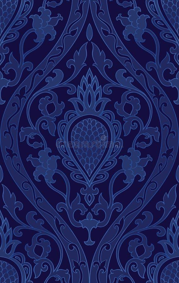 Modèle bleu avec la damassé illustration stock