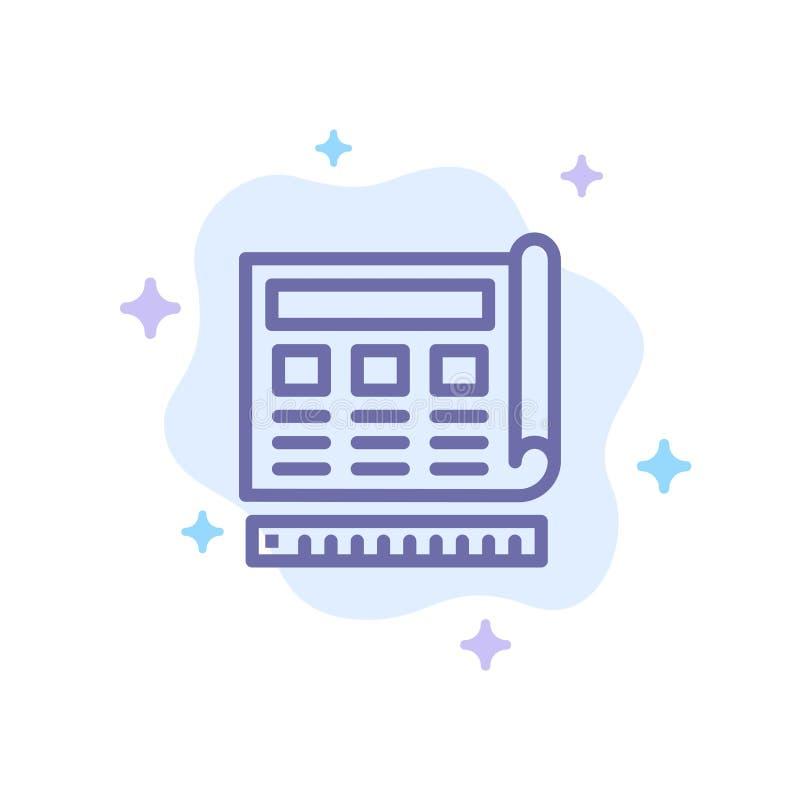 Modèle, bleu, copie, site Web, icône bleue de Web sur le fond abstrait de nuage illustration de vecteur