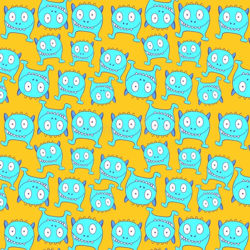 Modèle bleu de monstre de litlle Illustration courante images stock