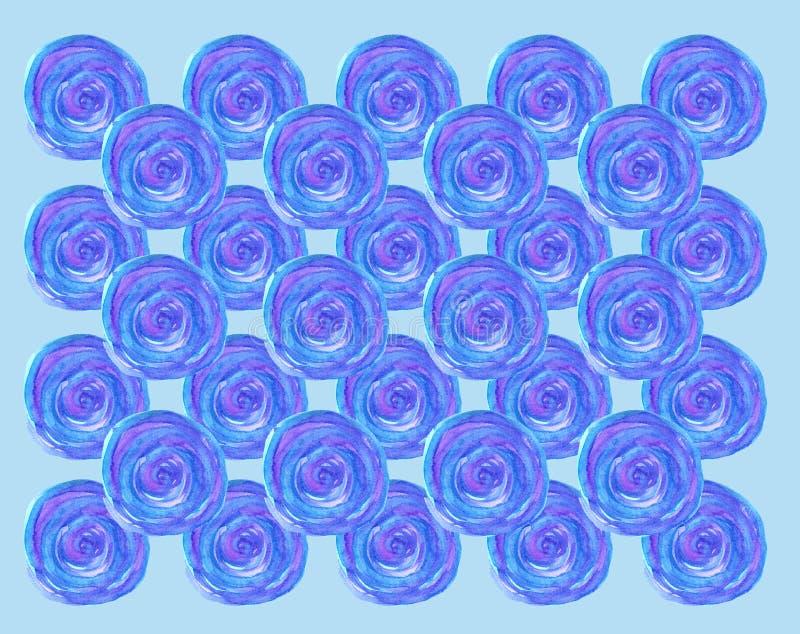 Modèle bleu de spirale ronde d'aquarelle illustration de vecteur
