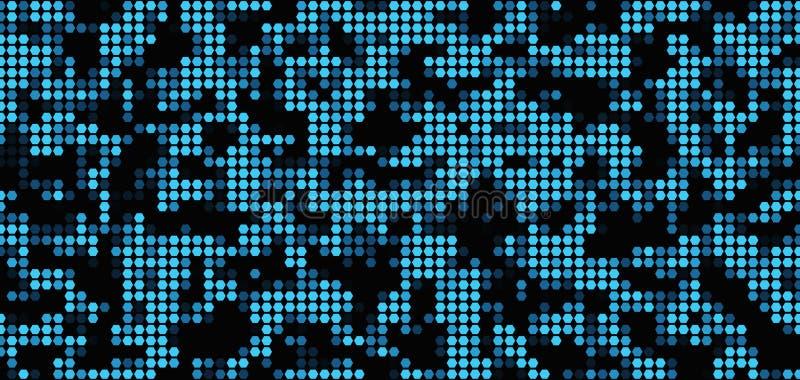 Modèle bleu de texture de tuile de mosaïque d'hexagone sur le fond noir illustration stock