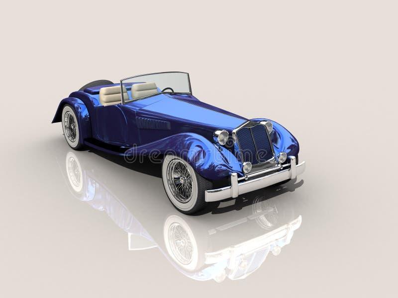 Modèle bleu du véhicule 3D de cru illustration stock