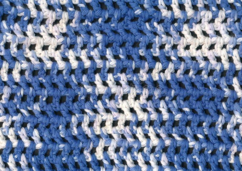 Modèle bleu et blanc de plan rapproché de crochet image stock