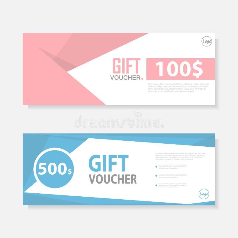 Modèle bleu rose de calibre de bon de cadeau, calibre mignon de conception de bon de certificat de bon de cadeau, chèque-cadeaux  illustration de vecteur