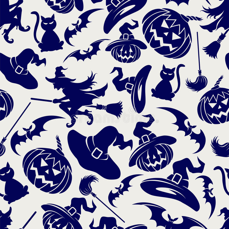 Modèle bleu sans couture de Halloween illustration de vecteur