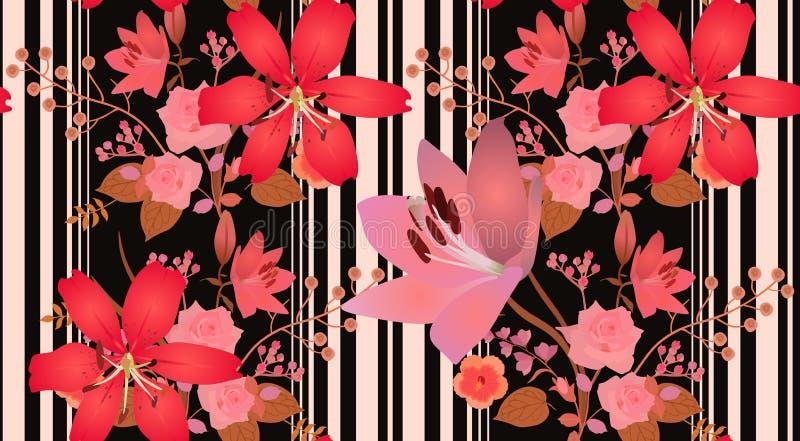 Modèle botanique lumineux avec les guirlandes florales verticales et les diverses rayures sur le fond noir Rose et fleurs rouges  illustration stock