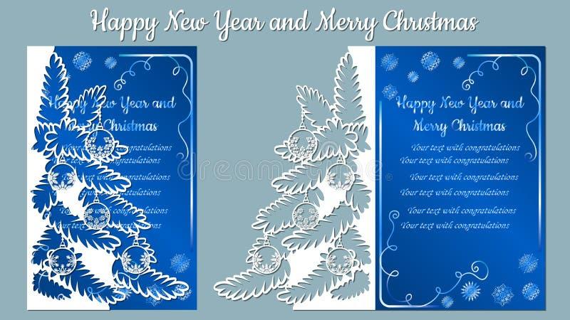 Modèle, branche avec des flocons de neige Invitation de Noël avec un flocon de neige et un jouet de Noël Vecteur cliché Joyeux No illustration stock