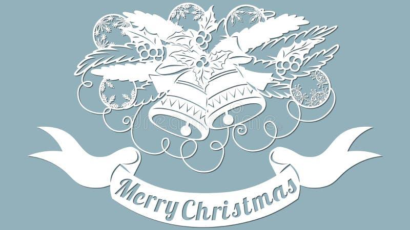 Modèle, branche avec des jouets et cloches Invitation de Noël avec un jouet de Noël Vecteur cliché Joyeux Noël Pour la coupe de l illustration de vecteur