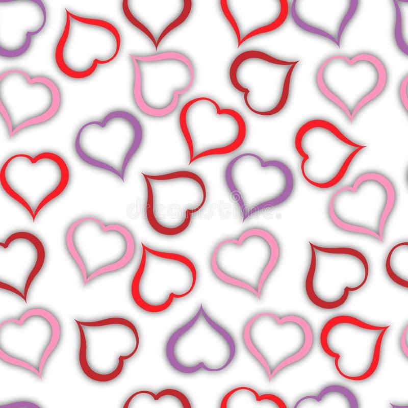 Modèle brillant de coeurs de couleur différente sur le fond blanc Illustration illustration stock
