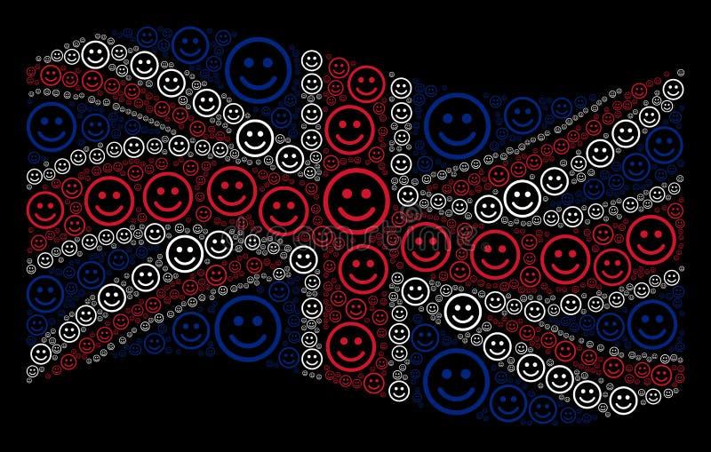 Modèle britannique de ondulation de drapeau de Glad Smiley Items illustration libre de droits