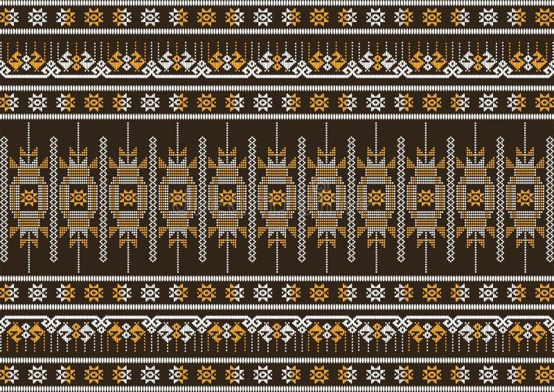 Modèle brun et orange de tissu en soie illustration stock