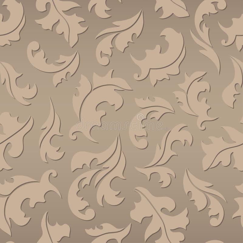 Modèle brun sans couture floral illustration stock