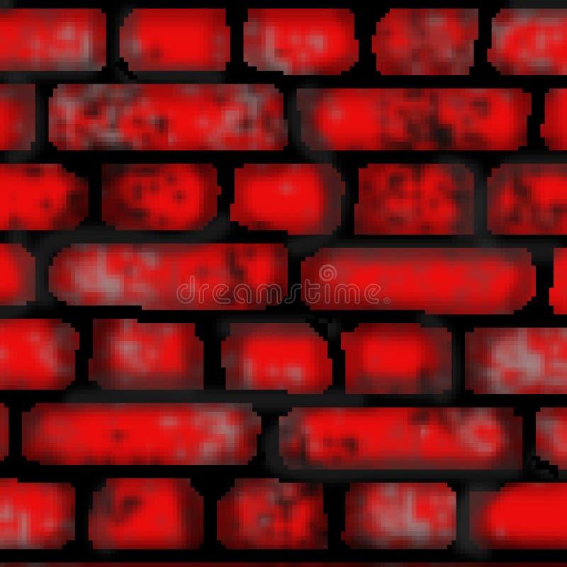 Modèle carré coloré tiré de tuile de brique de bit du pixel 8 illustration de vecteur