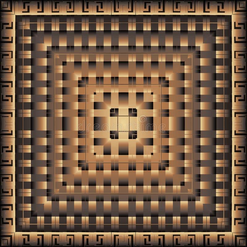 Modèle carré du vecteur 3d grec géométrique moderne panneau mandala tuile Fond abstrait texturisé ornemental Répétez rayé illustration de vecteur