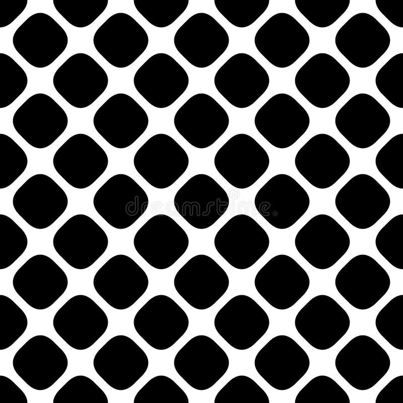 Modèle carré monochrome abstrait sans couture - dirigez le graphique de fond des points carrés arrondis par diagonale illustration de vecteur