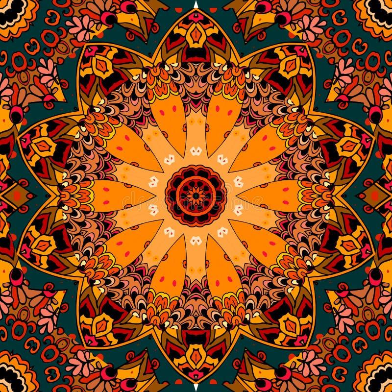 Modèle carré sans couture dans le style des Indiens nord-américains Potiron stylisé illustration de vecteur
