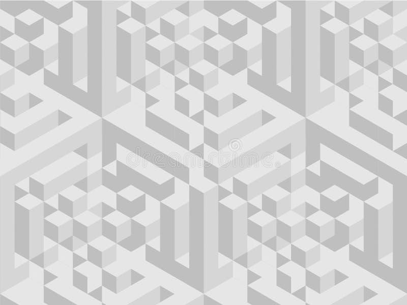 Modèle carré Texture géométrique dans la couleur grise Tuiles élégantes d'effet fond 3d dynamique abstrait créé des cubes illustration libre de droits