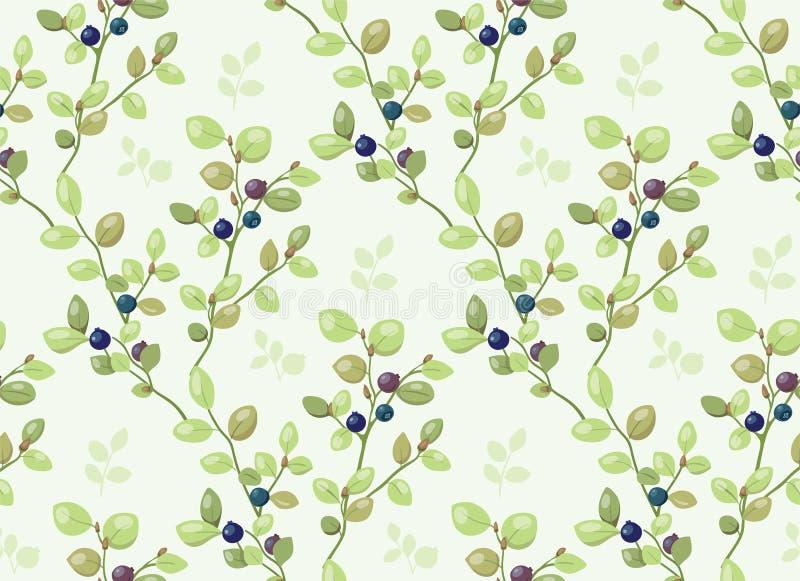 Modèle carrelé avec des buissons de myrtille illustration libre de droits