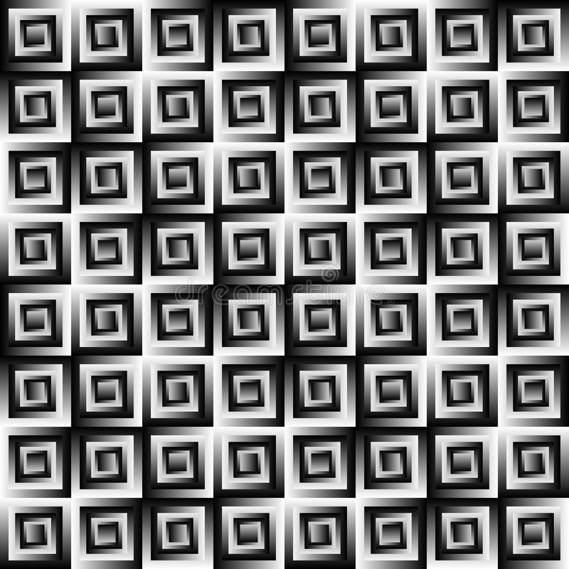 Modèle carrelé noir et blanc abstrait Fond géométrique de texture de tuile Vecteur sans joint illustration stock