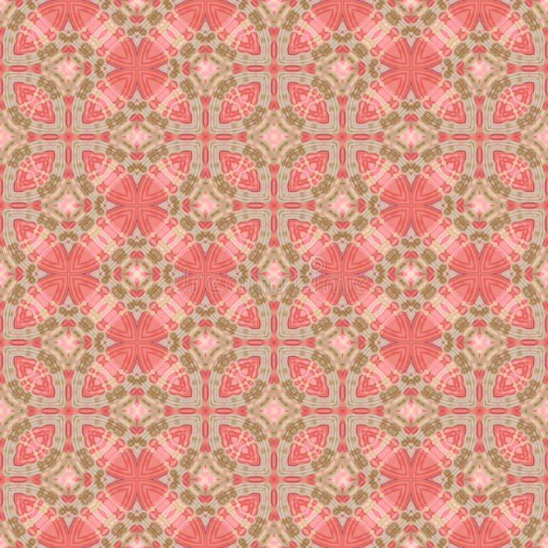 Modèle carrelé rouge et vert abstrait, fond fleuri de texture de tuile, rétro illustration sans couture illustration stock