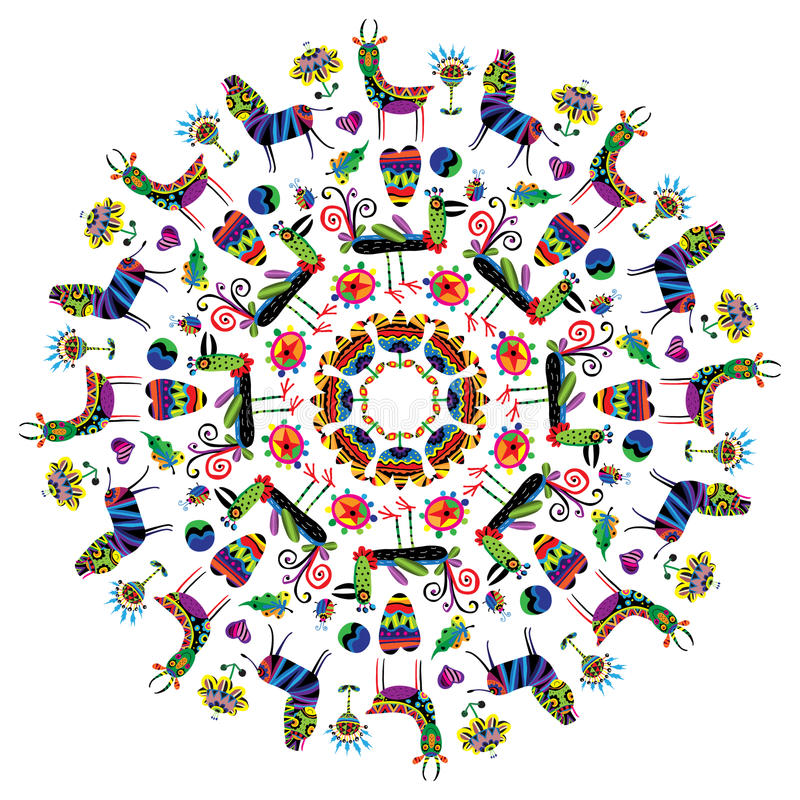 Modèle circulaire avec les animaux vifs illustration de vecteur