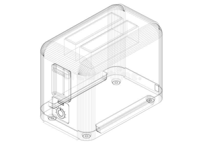 Modèle classique d'architecte de grille-pain - d'isolement illustration libre de droits