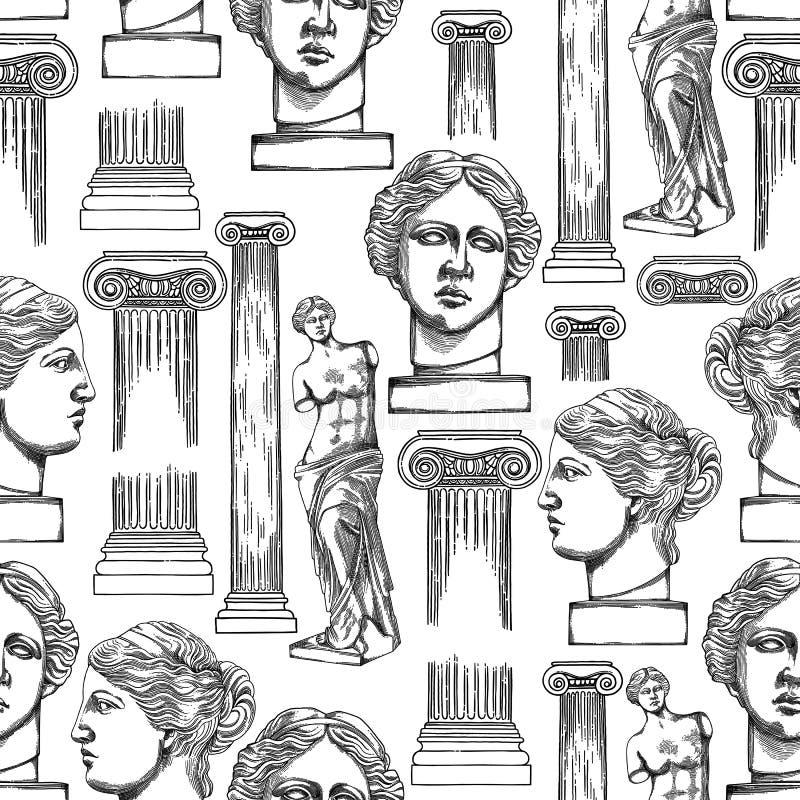 Modèle classique de Venus de Milo et des colonnes illustration libre de droits