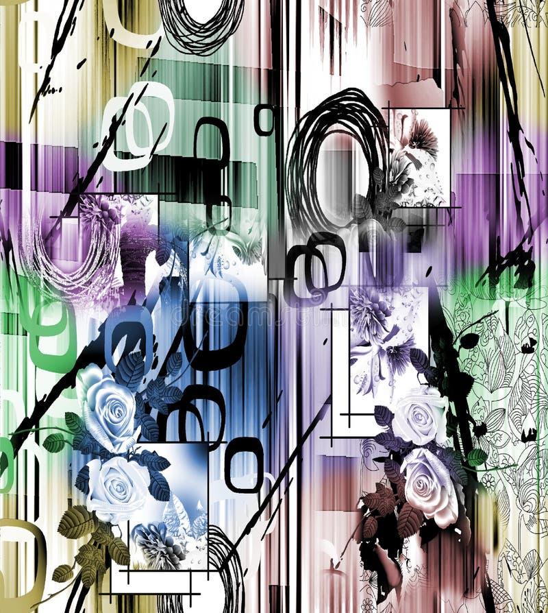 Modèle coloré abstrait d'impression de bloc illustration stock
