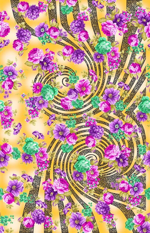 Modèle coloré abstrait d'impression de bloc illustration de vecteur