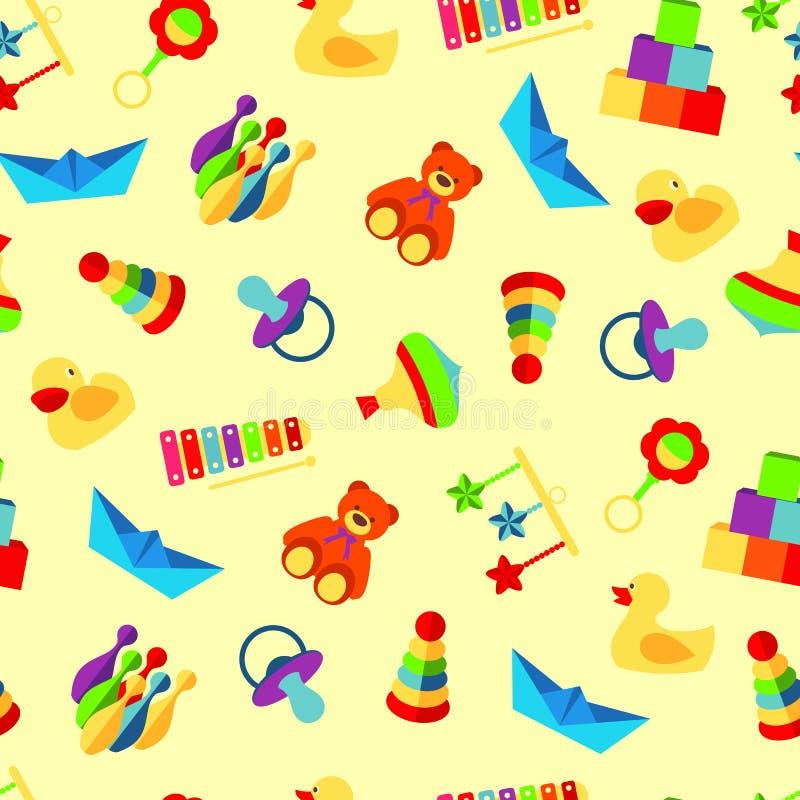 Modèle coloré avec le genre différent de jouets illustration stock