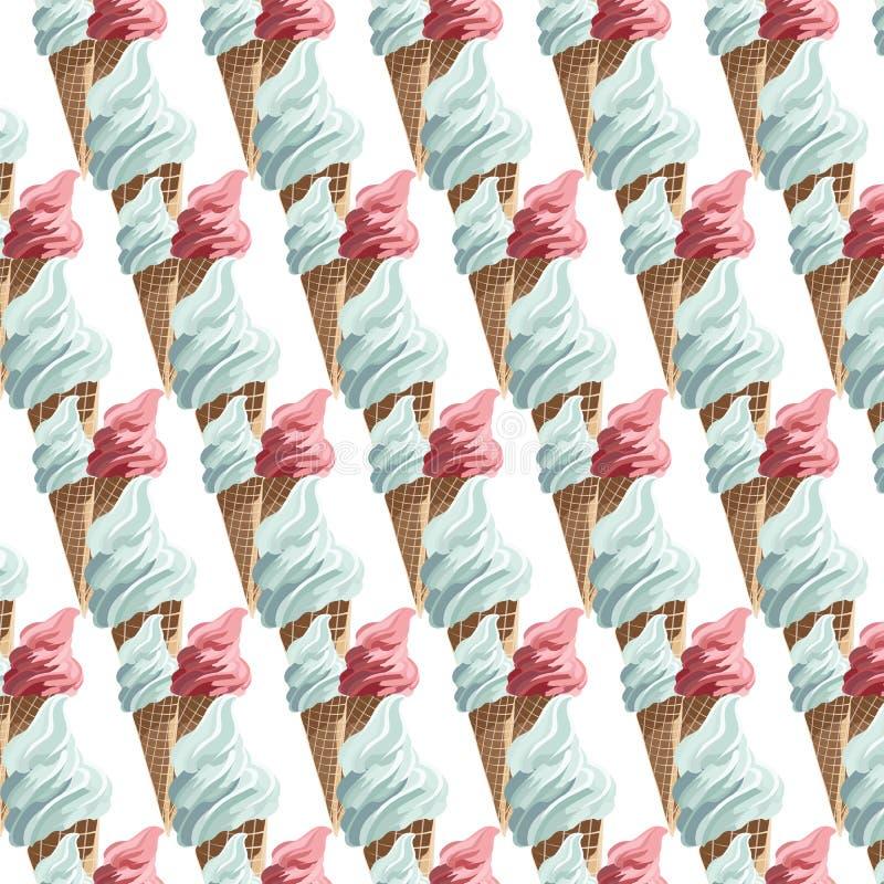 Modèle coloré de cornets de crème glacée de vecteur illustration de vecteur