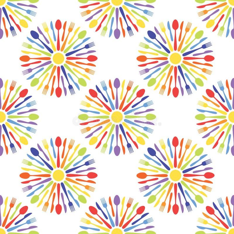 Modèle coloré de couverts sans couture de café illustration stock