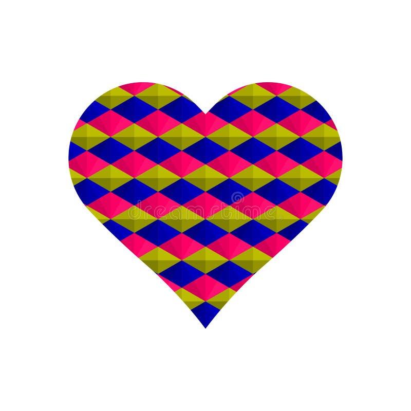 Modèle coloré de cubes sur le symbole de coeur illustration libre de droits