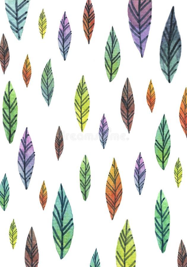 Modèle coloré de feuilles d'aquarelle sur le papier peint blanc illustration de vecteur