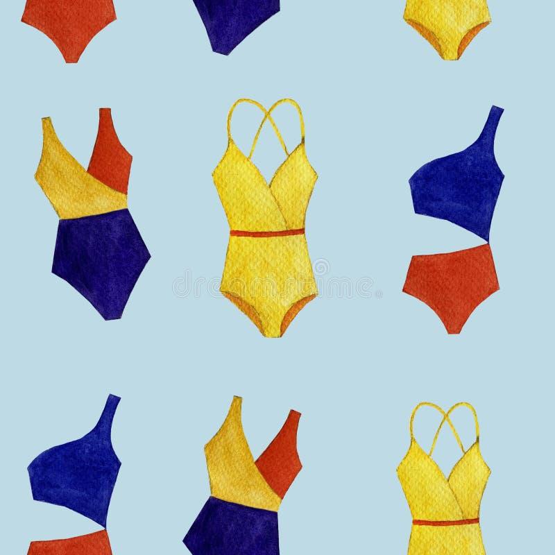 Modèle coloré de maillot de bain d'aquarelle sans couture des objets d'isolement sur le fond bleu-clair illustration stock