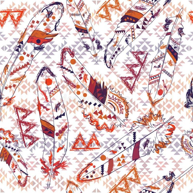 Modèle coloré de Navajo avec des plumes illustration libre de droits
