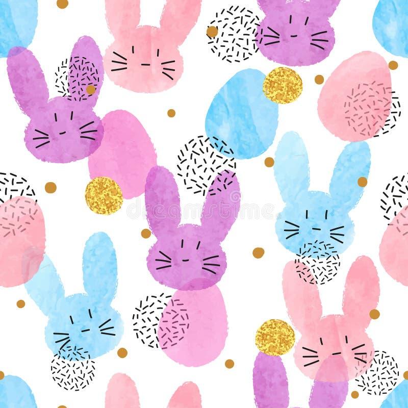Modèle coloré de Pâques de vecteur avec des lapins et des oeufs d'aquarelle illustration de vecteur