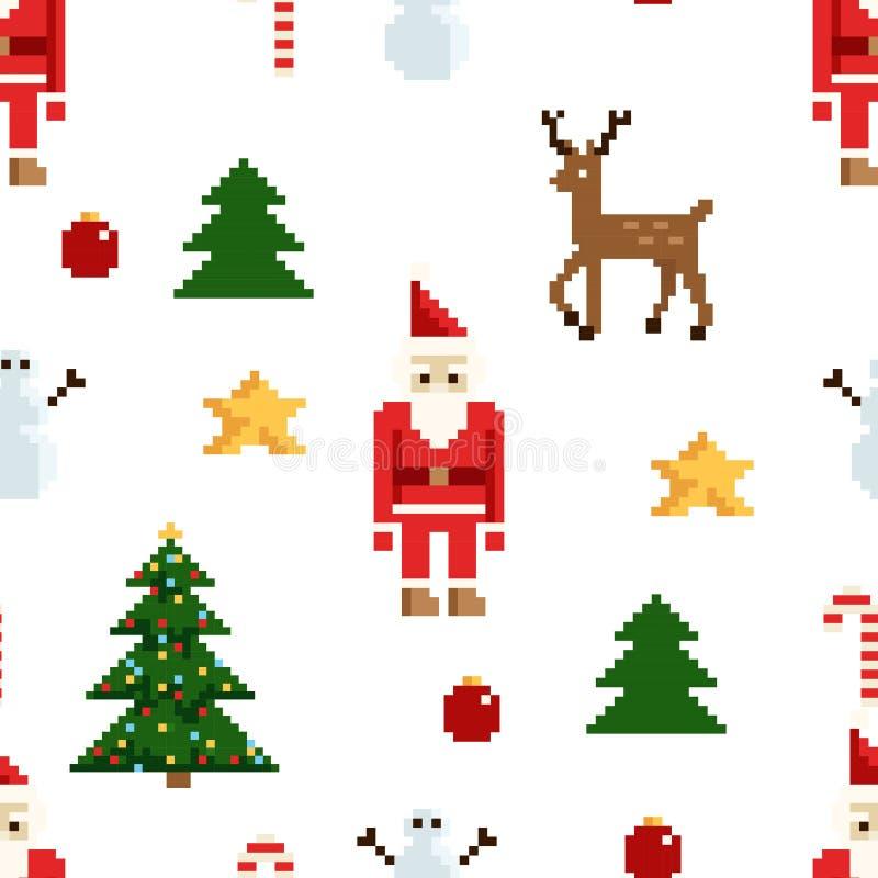 Modèle Coloré De Pixel Avec Des éléments De Noël Style De