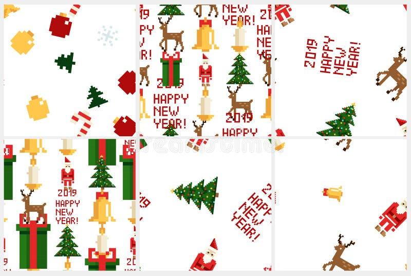 Modèle coloré de pixel réglé avec des éléments de Noël Style de jeux d'Atcade illustration stock