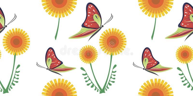Modèle coloré de vecteur sans couture avec les pissenlits jaunes et les papillons rouges sur le fond blanc illustration de vecteur