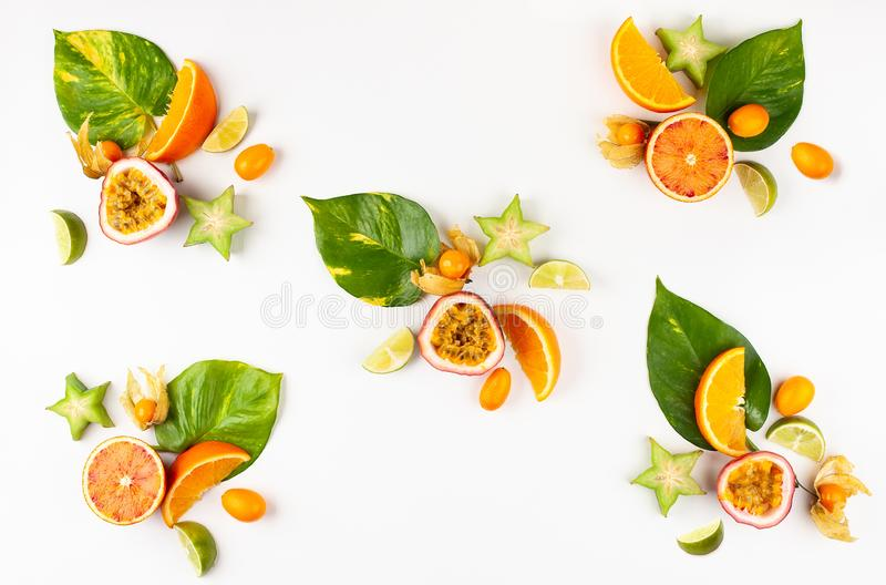 Modèle coloré des fruits exotiques entiers et coupés en tranches avec les feuilles et les fleurs tropicales image stock