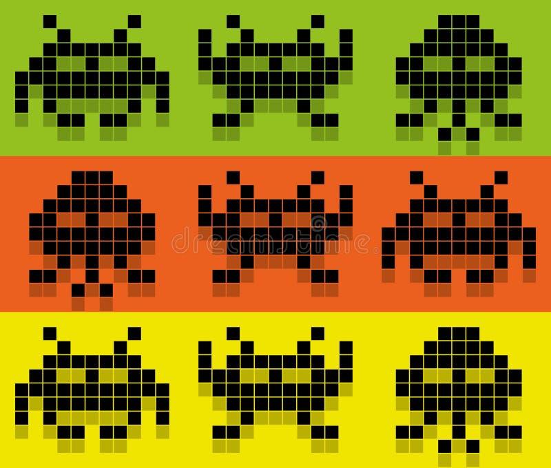 Modèle coloré par Pix de style d'envahisseurs. Envahisseurs de l'espace, étrangers 8bit réglés illustration stock