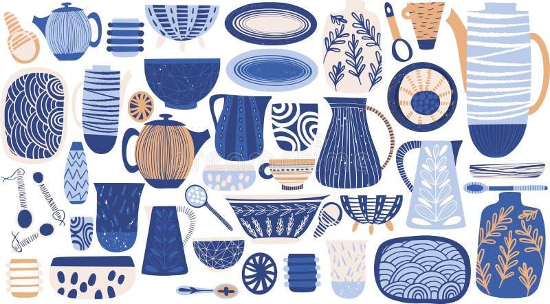 Modèle coloré rustique de beau résumé lumineux des plats tirés par la main : vase, plats, cruche, cuillère, plat illustration stock