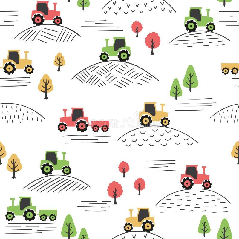 Modèle coloré sans couture avec des tracteurs de griffonnage illustration libre de droits