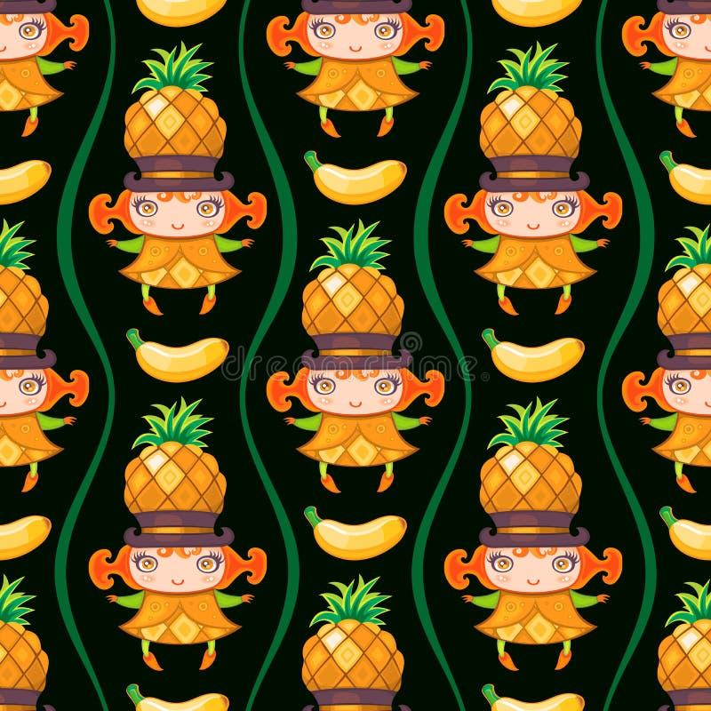 Modèle coloré sans couture avec la fille de fruit d'ananas Fond de vecteur illustration de vecteur
