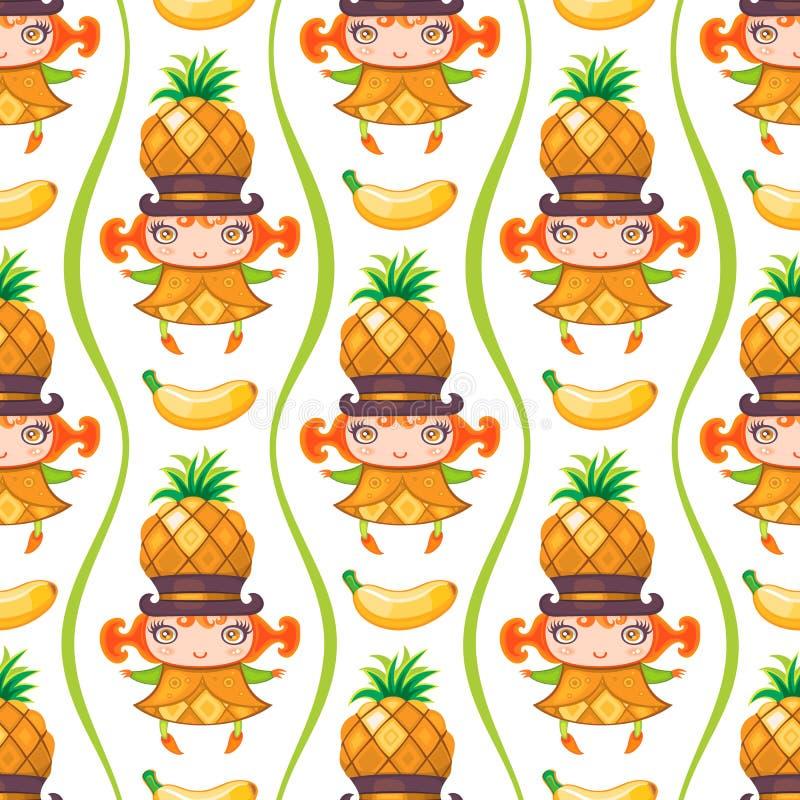 Modèle coloré sans couture avec la fille de fruit d'ananas Fond de vecteur illustration stock