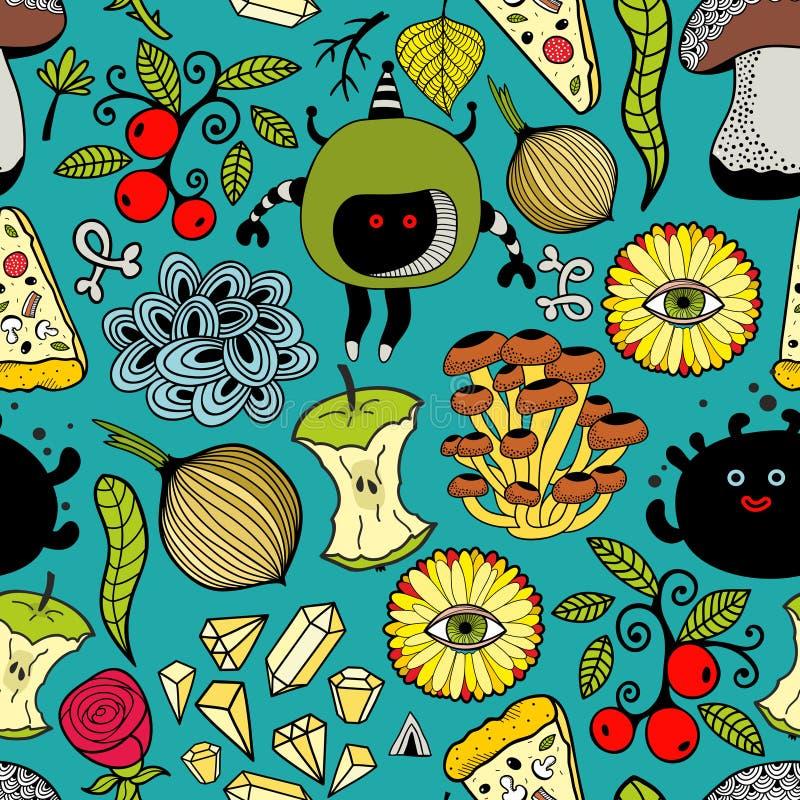 Modèle coloré sans couture avec les monstres et la nourriture illustration stock