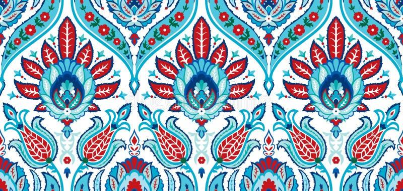 Modèle coloré sans couture de vecteur dans le style turc Fond décoratif de cru Ornement tiré par la main L'Islam, arabe illustration stock